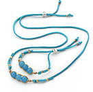 Blue Series Wire Wrapped Blue Jade Pea Pendant Set with Blue Leather( Necklace and Matched Bracelet )