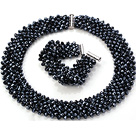Popular Multi Strands Handmade Black Crystal Sets (Netted Necklace With Matched Bracelet)