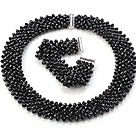 Popolare Multi Strands Handmade di cristallo nero Sets ( Netted collana con abbinato il braccialetto )