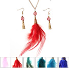 6 Stelt New Fashion Style Multi Color Feather hanger Ketting met Oorbellen Matched