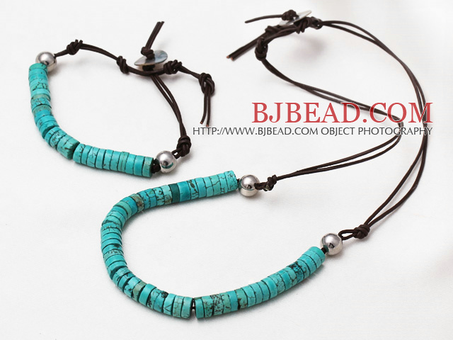 Fashion Style Disc Shape Turquoise Necklace Bracelet Set with Shell Clasp