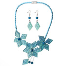 Gorgeous Blue Flower Shape Acrylic Party Necklace with Matched Earrings