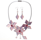 Forma magníficos de la flor rosada de acrílico del collar del partido con los pendientes emparejados