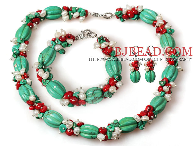 Assorted Turquoise Pumpkin and White Pearl and Red Coral Set ( Necklace Bracelet and Matched Earrings )
