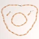 Diseño clásico blanco y rosa y púrpura perla de cuentas de sistemas de la joyería (collar pulsera y Studs)