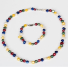 6-7mm Multi Color Freshwater Pearl Set (ketting en armband Matched)
