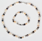6-7mm Gray and White and Multi Color Freshwater Pearl Set ( Necklace and Matched Bracelet )