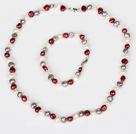 6-7mm White and Gray and Wine Red Freshwater Pearl Set ( Necklace and Matched Bracelet )