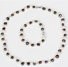 6-7mm White and Black Freshwater Pearl Set ( Necklace and Matched Bracelet )