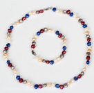 6-7mm Mixed Color Freshwater Pearl Set ( Necklace and Matched Bracelet )