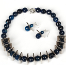 14mm Ronda Dark Blue Beads Ágata conjunto (Collar y Pendientes Igualados)