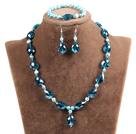 Blauwe Agaat en wit porselein Stone Ketting en Oorbellen Matched Set