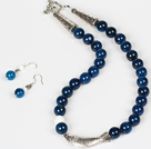 Dark Blue Agate and White Porcelain Stone Necklace and Matched Earrings Set
