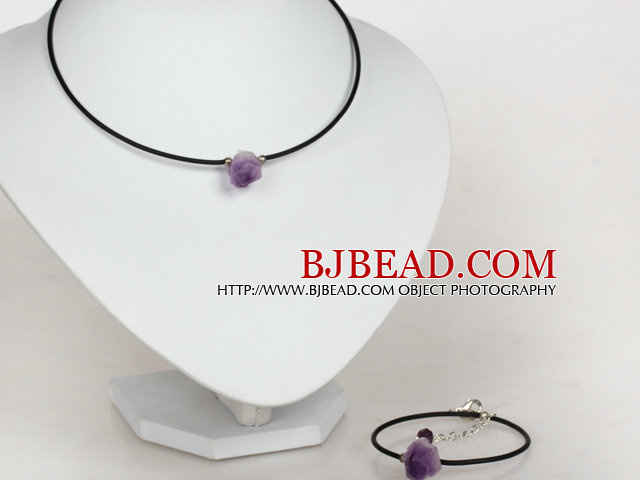 Simple Style Amethyst Stone Set ( Necklace and Matched Bracelet )