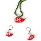 Christmas Cap Jewelry Set Necklace with Matched Earrings