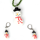 Christmas Snowman Jewelry Set Necklace with Matched Earrings