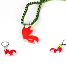 Christmas Stocking Jewelry Set Necklace with Matched Earrings