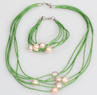 10-11mm Pink Purple Freshwater Pearl and Green Leather Necklace Bracelet Set under $ 12