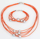 10-11mm Gray Freshwater Pearl and Orange Leather Necklace Bracelet Set