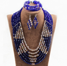Fabulous 6 Layers Light Brown & Dark Blue Crystal Beads Costume African Wedding Jewelry Set (Necklace With Mathced Bracelet And Earrings)