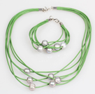 10-11mm Gray Freshwater Pearl and Pink Leather Necklace Bracelet Set
