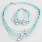 10-11mm Gray Freshwater Pearl and Blue Leather Necklace Bracelet Set