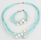 10-11mm Pink Purple Freshwater Pearl and Blue Leather Necklace Bracelet Set