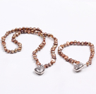 Fashion 6-7mm Natural Brown Freshwater Pearl Heart Pendant Jewelry Set(Necklace With Matched Bracelet)