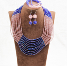 Charming 10 Layers Pink & Blue Crystal Beads Costume African Wedding Jewelry Set (Necklace With Mathced Bracelet And Earrings)