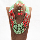 Amazing Statement 10 Layers Red Green Jade-Like Crystal African Wedding Jewelry Set (Necklace With Mathced Bracelet And Earrings)