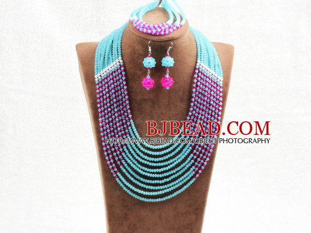 Amazing Statement 10 Layers Rose Red Blue Jade-Like Crystal African Wedding Jewelry Set (Necklace With Mathced Bracelet And Earrings)