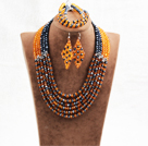 Splendid 6 Layers Black Yellow Crystal Beads African Wedding Jewelry Set (Necklace With Mathced Bracelet And Earrings)