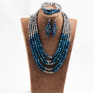 Marvelous 5 Layers Blue Gray Crystal Beads African Wedding Jewelry Set (Necklace With Mathced Bracelet And Earrings)