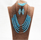Marvelous 5 Layers Blue Flesh Pink Crystal Beads African Wedding Jewelry Set (Necklace With Mathced Bracelet And Earrings)