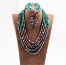 Marvelous 5 Layers Purple Green Crystal Beads African Wedding Jewelry Set (Necklace With Mathced Bracelet And Earrings)