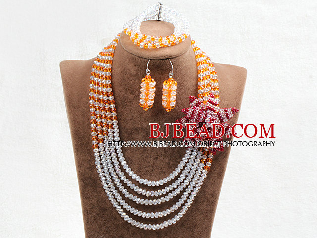 Captivating 5 Layers White & Yellow Crystal Beads Flower Charm Costume African Wedding Jewelry Set (Flower Can Be Removed as Brooch)