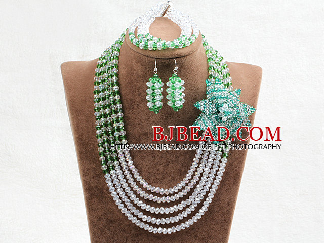 Captivating 5 Layers White & Green Crystal Beads Flower Charm Costume African Wedding Jewelry Set (Flower Can Be Removed as Brooch)
