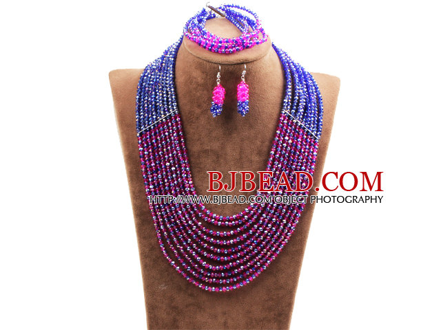 Fabulous 10 Layers Rose Red & Blue Crystal Costume African Wedding Jewelry Set (Necklace,Bracelet & Earrings)