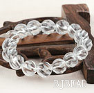 12mm Natural Clear Crystal Twist Beaded Elastic Bangle Bracelet
