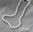 8-9mm A Grade Natural White Freshwater Pearl Beaded Necklace with Sterling Silver Clasp