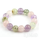 Assorted 12mm Faceted Round Rose Quartz and Amethyst and Prehnite Beaded Stretch Bangle Bracelet