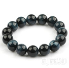 12mm Round A Grade Blue Tiger Eye Beaded Stretch Bangle Bracelet