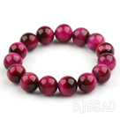 12mm Round A Grade Rosary Red Tiger Eye Beaded Stretch Bangle Bracelet