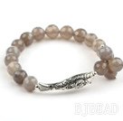 8mm Faceted Gary Agate Stretch Bangle Bracelet with Sterling Silver Fish Accessory