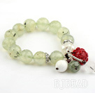 14mm Faceted Prehnite Stretch Beaded Bangle Bracelet with White Mosaics Shell and Sterling Silver Accessories