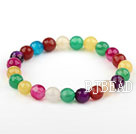 8mm Natural Faceted Multi Color Agate Beaded Elastic Bangle Bracelet
