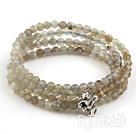 4mm Round Faceted Gray Agate Beaded Stretch Wrap Bangle Bracelet