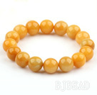 12mm Round Natural Yellow Jade Stretch Bangle Bracelet