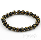 8mm Black Agate Beads with Characters of Magic Charms Stretch Bangle Bracelet