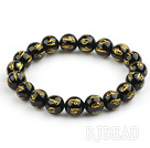 10mm Black Agate Beads with Characters of Magic Charms Stretch Bangle Bracelet
